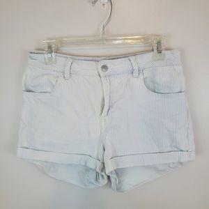 Pac Sun Blue Stripe Super Stretch Shortie Shorts